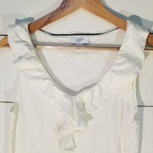 🍂 Ann Taylor LOFT white ruffle tank top small